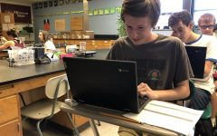 Martyn Seeker (12) works on a chemistry lab assignment in Mr. Dougherty's class, using one of the district-provided Chromebooks.