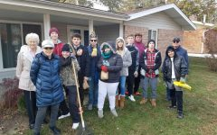 Students from the academy after their annual Rake-A-Thon. During the Rake-A-Thon, students went to senior citizens' yards and raked their leaves. It is a big help for the elderly who cannot do it themselves and it is great for the Lindbergh community.
